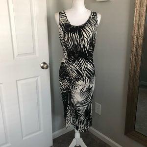 Karen Kane Black & White Patterned Midi Dress